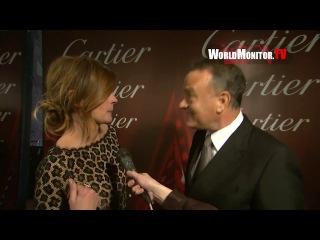 Том Хэнкс в компании Джулии Робертс дает интервью на 25-й ежегодном международном кинофестивале Palm Springs, 04.01.2014